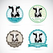 Set Of Vector An Dairy Cows Label