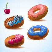 Super donut pack.Color icing desserts. sweets and pastries for your bakery menu design