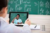 Woman Having Videochat On Digital Tablet