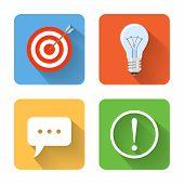Flat Idea Icons. Vector Illustration