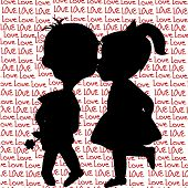 Card With Cartoon Silhouettes Of A Boy And A Girl Kissing