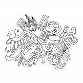 Vector decorative doodles design card. Back to school