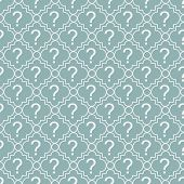 Teal And White Question Mark Symbol Pattern Repeat Background