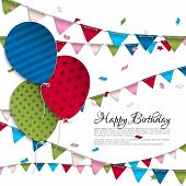 Birthday card with balloons and bunting flags.