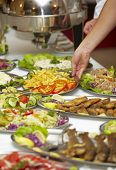 stock photo of buffet  - close up of buffet table arrangement catering - JPG