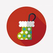 Christmas Stocking Flat Icon With Long Shadow,eps 10