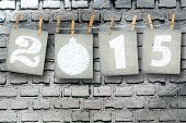Snow-covered Paper Numbers Of New 2015 With Snow