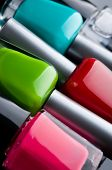 Nail polish bottles close up