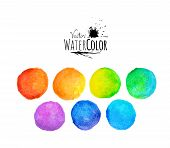 Colorful set vector isolated watercolor paint circles