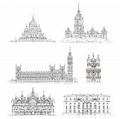 Famous buildings, sketch collection. Paris Sacred Heart in Montmartre, Big Ben and houses of parliam