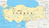 foto of euphrat  - Turkey Political Map with capital Ankara - JPG