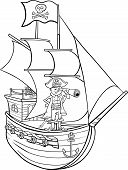 stock photo of spyglass  - Black and White Cartoon Illustration of Funny Pirate Captain with Spyglass and Ship with Jolly Roger Flag for Coloring Book - JPG
