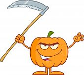 picture of scythe  - Scaring Halloween Pumpkin With Scythe Cartoon Mascot Character - JPG