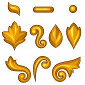 Set of baroque ornamental floral gold elements.