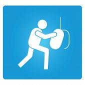 foto of pugilistic  - boxing symbol in blue square button - JPG