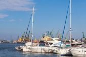 Yachts And Pleasure Boats Are Moored In Port Of Varna, Bulgaria
