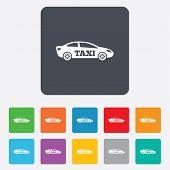 Taxi car sign icon. Sedan saloon symbol.