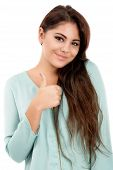 Beautiful Young Woman Showing Ok Sign, Isolated On White Background