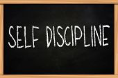 foto of discipline  - Self discipline illustration of chalk writing on blackboard - JPG