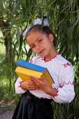 Girl In Embroidery Books With Color Ukrainian Flag