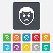 Sad face sign icon. Sadness symbol.