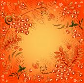 Autumn Seamless Background With Ornament From Leaves And Berries Of Mountain Ash