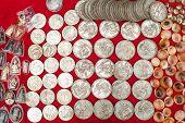 Old Cheap Souvenir Coins For Sale At Asian Market. Laos