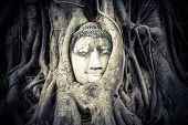 Buddha at Wat Mahathat ruins. Ayutthaya Thailand