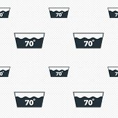 Wash icon. Machine washable at 70 degrees symbol