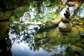 Amazing Tropical Rain Forest Landscape With Lake And Balancing Rocks Tower For Zen Meditation