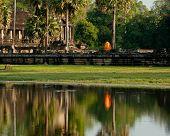 Buddhist Monk At Angkor Thom Temple. Angkor Wat, Siem Reap, Cambodia