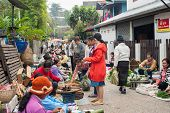 People Shopping At Traditional Local Food Marketplace. Laos