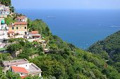 scenic view of village albori on amalfi coast in italy
