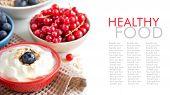 Fresh Berries With Natural Yogurt Or Sour Cream