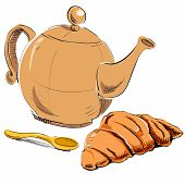 Fresh croissant and kettle