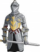 Vector Medieval Knight With Sword