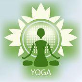 Yoga Lotus Flower Emblem Green Background Meditation Posture