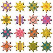 scrapbook textile stars on white background