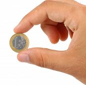 Holding One Euro Coin