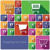 Shopping cart icons set flat