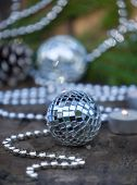 Christmas Mirror Balls On Wooden Background