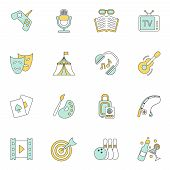 Entertainments icons flat