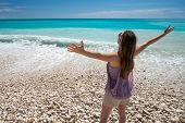 Carefree woman on beach