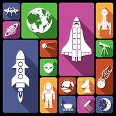 picture of spaceman  - Space and astronomy flat icons set with rocket spaceman flying saucer isolated vector illustration - JPG