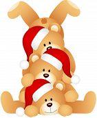 Stack of Christmas teddy Bears