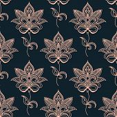 Pink paisley seamless floral pattern