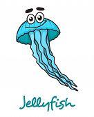 Cartoon blue jellyfish character