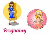 Two pregnancy woman characters