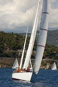 13 September 2014. Ancient sailing boat during a regatta at the Panerai Classic Yachts Challenge fro