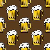 Beer tankards seamless pattern